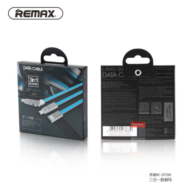Remax RC-072th Linyo Series 3in1 Data Cable for Micro,Type C and Lightning