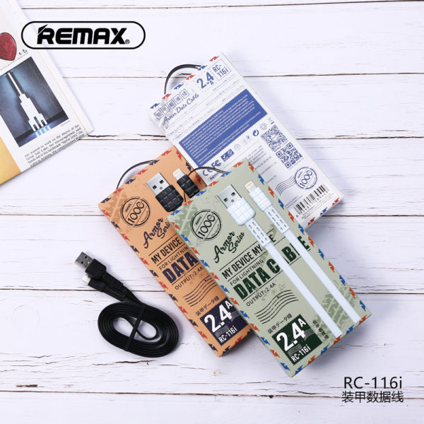 REMAX ARMOR DATA CABLE 2.4A LIGHTNING 1000mm (RC-116i)